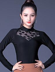 ราคาถูก -ชุดเต้นรำโมเดิร์น เสื้อ สำหรับผู้หญิง Performance น้ำแข็งไหม ลูกไม้ / กระโปรงระบาย แขนยาว Top