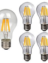 abordables -5pcs 8W 760lm E26 / E27 Ampoules à Filament LED A60(A19) 8 Perles LED COB Décorative Blanc Chaud Blanc Froid 220-240V