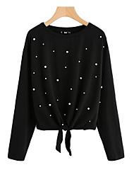 Недорогие -женская хлопчатобумажная футболка - горошка с круглой шеей