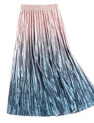 baratos -midi feminino saias de uma linha - bloco de cor