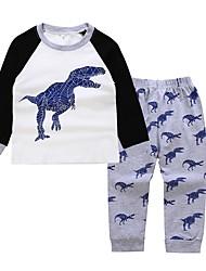 Недорогие -Дети / Дети (1-4 лет) Мальчики Дракон С принтом Длинный рукав Набор одежды