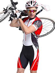 Недорогие -Nuckily Муж. С короткими рукавами Костюм для триатлона - Красный геометрический Велоспорт Дышащий, Анатомический дизайн, Ультрафиолетовая устойчивость Полиэстер, Спандекс В полоску / Эластичная