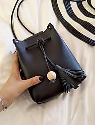 Недорогие -Жен. Мешки PU Мобильный телефон сумка С кисточками Сплошной цвет Черный / Серый / Коричневый