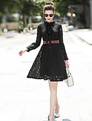 cheap -Women's Going out Slim Swing Dress Shirt Collar