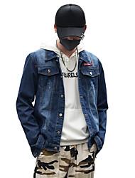 Недорогие -Муж. Большие размеры Джинсовая куртка Классический / Уличный стиль - Однотонный / Слова, Хлопок / Джинса / Длинный рукав