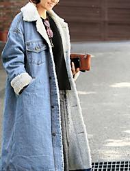 Недорогие -Жен. Повседневные Макси Джинсовая куртка, Однотонный Приподнятый круглый Длинный рукав Хлопок Синий / Черный / Светло-синий L / XL / XXL