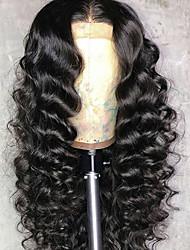 billiga -Remy-hår Spetsfront Peruk Brasilianskt hår Deep Curly Peruk Middle Part 150% Hårtäthet 100% Jungfru Med blekta knutar Dam Lång Äkta peruker med hätta