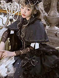 cheap -Gothic Lolita Dress Vintage Gothic Lolita Chiffon Lace Female Dress Cosplay Black Juliet Sleeve Long Sleeve Midi Halloween Costumes