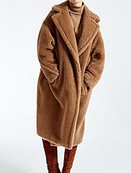 baratos -Mulheres Para Noite Moda de Rua Longo Casaco de Pêlo, Sólido Gola Dobrada Manga Longa Poliéster Vermelho / Camel S / M / L