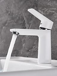 Недорогие -Ванная раковина кран - Новый дизайн Окрашенные отделки Настольная установка Одной ручкой одно отверстиеBath Taps
