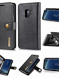 baratos -DG.MING Capinha Para Samsung Galaxy S9 Plus / S9 Carteira / Porta-Cartão / Com Suporte Capa Proteção Completa Sólido Rígida couro legítimo para S9 / S9 Plus / S8 Plus