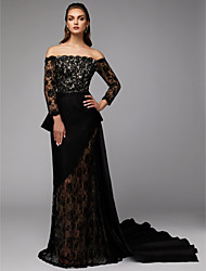 cheap -Sheath / Column / Two Piece Off Shoulder Court Train Lace / Satin Celebrity Style Formal Evening Dress with Appliques by TS Couture® / Illusion Sleeve