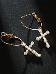baratos -Mulheres Estilo vintage Brincos Compridos - Imitação de Pérola Cruz Vintage, Elegante Dourado Para Trabalho Aniversário