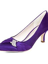 Недорогие -женские туфли сатин осень / весна& летние минимализм свадебные туфли котенок каблук заостренный нос горный хрусталь темно-фиолетовый / шампанское / слоновая кость / вечеринка& вечер