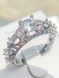 baratos -Mulheres Anel - Pedaço de Platina, Imitações de Diamante Amor Romântico, Elegante 6 / 7 / 8 / 9 / 10 Prata Para Noivado Encontro