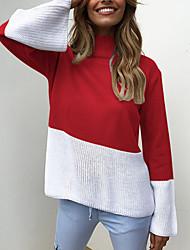 povoljno -Žene Dnevno Osnovni Color block Dugih rukava Regularna Pullover, Uski okrugli izrez Proljeće / Jesen Pamuk Blushing Pink / Sive boje / Bijela M / L / XL