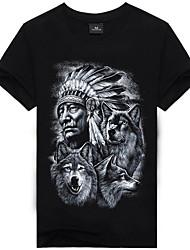 baratos -Homens Camiseta Moda de Rua / Punk & Góticas Estampado, 3D / Animal / Retrato Algodão Decote Redondo Lobo / Manga Curta