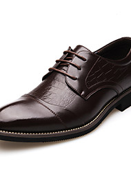 Недорогие -Муж. Печать Оксфорд Синтетика Осень На каждый день Туфли на шнуровке Водостойкий Черный / Коричневый