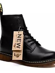 baratos -Homens Sapatos Confortáveis Pele Napa Inverno Botas Botas Cano Médio Preto / Marron / Vermelho
