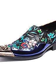 Недорогие -Муж. Печать Оксфорд Наппа Leather Осень Английский Туфли на шнуровке Нескользкий Черный / Для вечеринки / ужина