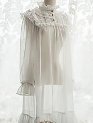 cheap -Sweet Lolita Dress Embroidery See Through Elegant Lace Female Dress Cosplay White Flare Sleeve Long Sleeve Midi Halloween Costumes