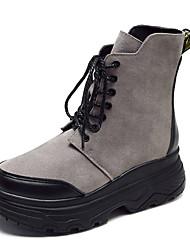 Недорогие -Жен. Fashion Boots Полиуретан Осень Ботинки На плоской подошве Круглый носок Ботинки Черный / Серый