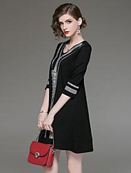 halpa -Naisten Boheemi / Tyylikäs Löysä Housut Black & White, Laskostettu Musta / V kaula-aukko / Pikkumusta / Työ