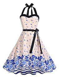 Недорогие -Жен. Элегантный стиль С летящей юбкой Платье - Цветочный принт, С принтом Выше колена