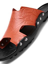 Недорогие -Муж. Комфортная обувь Кожа Лето На каждый день Сандалии Дышащий Белый / Черный / Коричневый