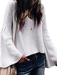 Недорогие -Жен. выходные Классический Однотонный Длинный рукав Обычный Пуловер, Круглый вырез Черный / Серый / Винный M / L / XL