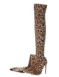 Недорогие -Жен. Fashion Boots Эластичная ткань Наступила зима Винтаж Ботинки На шпильке Заостренный носок Бедро высокие сапоги Животные принты Цвет-леопард / Свадьба / Для вечеринки / ужина / Леопард