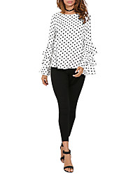 Недорогие -женская хлопчатобумажная рубашка размера - polka dot round neck