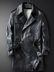 baratos -casaco de couro longo do plutônio do trabalho dos homens - colar colorido contínuo da camisa