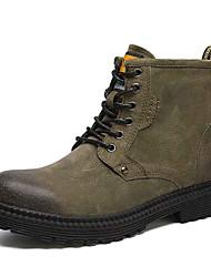 Недорогие -Муж. Армейские ботинки Кожа / Свиная кожа Наступила зима Винтаж / Английский Ботинки Нескользкий Ботинки Черный / Серый / Зеленый