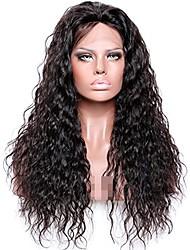 Недорогие -человеческие волосы Remy Лента спереди Парик Бразильские волосы Волнистые Черный Парик Глубокое разделение 150% Плотность волос Толстые Черный Жен. Длинные