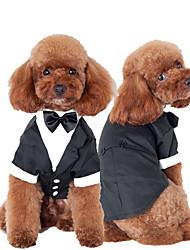 baratos -Gato Cachorro Smoking Roupas para Cães Laço Preto Algodão Ocasiões Especiais Para animais de estimação Homens Fofo Fantasias Casamento