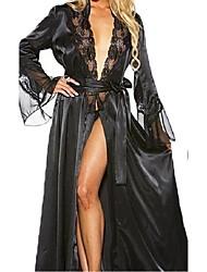 Недорогие -Жен. Кружева Супер секси Халат / Шёлк и сатин Ночное белье Однотонный Белый Черный Красный M L XL / Глубокий V-образный вырез