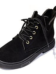 Недорогие -Жен. Армейские ботинки Полиуретан Зима Английский Ботинки На низком каблуке Сапоги до середины икры Черный / Хаки
