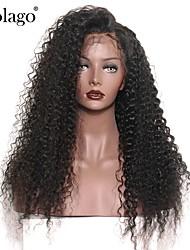 Недорогие -Натуральные волосы Лента спереди Парик Бразильские волосы Кудрявый Парик Глубокое разделение 130% Плотность волос с детскими волосами Подарок Горячая распродажа Удобный Нейтральный Жен. Длинные