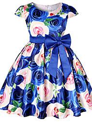 זול -שמלה שרוולים קצרים פרחוני / קולור בלוק בנות ילדים / פעוטות