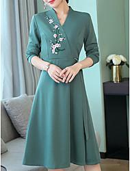 billige -kvinders slanke linje kjole høj talje knælængde v hals