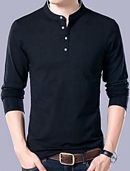 Недорогие -мужская одежда тонкая футболка - сплошной цвет шеи экипажа