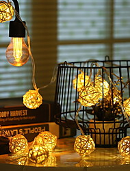 Недорогие -4м Гирлянды 20 светодиоды Тёплый белый Декоративная Аккумуляторы AA 1 комплект