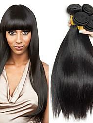 Недорогие -4 Связки Малазийские волосы Прямой 8A Натуральные волосы Необработанные натуральные волосы Удлинитель Пучок волос One Pack Solution 8-28 дюймовый Нейтральный Естественный цвет Ткет человеческих волос