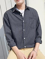 Недорогие -мужская плюшевая хлопчатобумажная рубашка с полосатой рубашкой