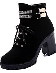 billiga -Dam Fashion Boots PU Höst Minimalism Stövlar Bastant klack Stövletter Svart / Brun / Färgblock