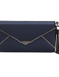Недорогие -Жен. Мешки Кожа Вечерняя сумочка С кисточками Сплошной цвет Темно-синий