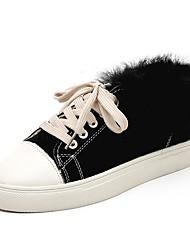 Недорогие -Жен. Комфортная обувь Полотно Зима На плокой подошве На плоской подошве Круглый носок Черный / Бежевый