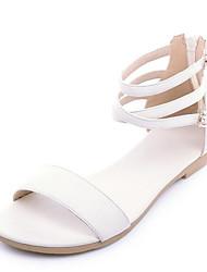 Недорогие -Жен. Комфортная обувь Полиуретан Лето Сандалии На плоской подошве Золотой / Белый / Черный