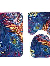 abordables -3 Pièces Traditionnel Tapis Anti-Dérapants Polyester Elastique Tissé 100g / m2 Animal Irrégulier Salle de Bain Design nouveau